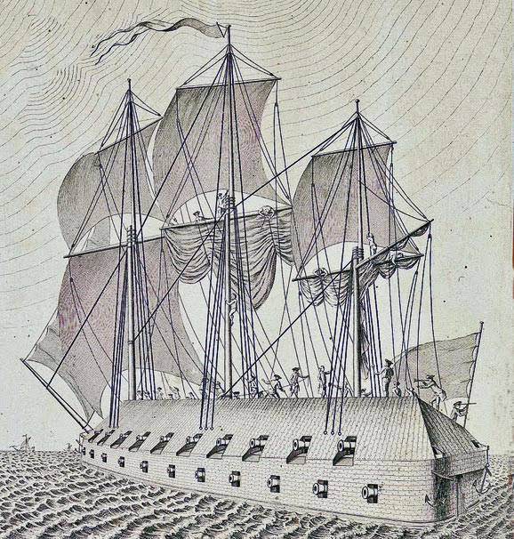 Pastora, flagship of the squadron of ten Spanish Battering Ships, destroyed with the rest of the squadron in the attack on 13th September 1782: the Great Siege of Gibraltar from 1779 to 1783 during the American Revolutionary War