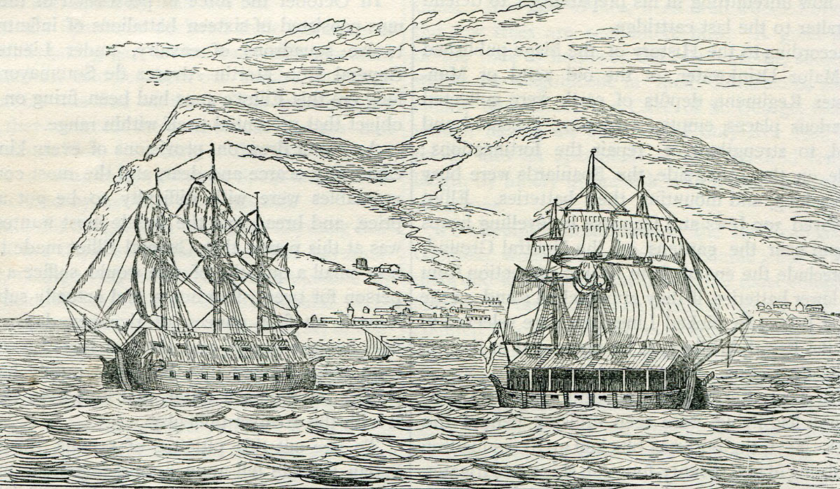 Spanish Battering Ships that attacked Gibraltar on 13th September 1782: the Great Siege of Gibraltar from 1779 to 1783 during the American Revolutionary War: port side on the left and starboard side on the right