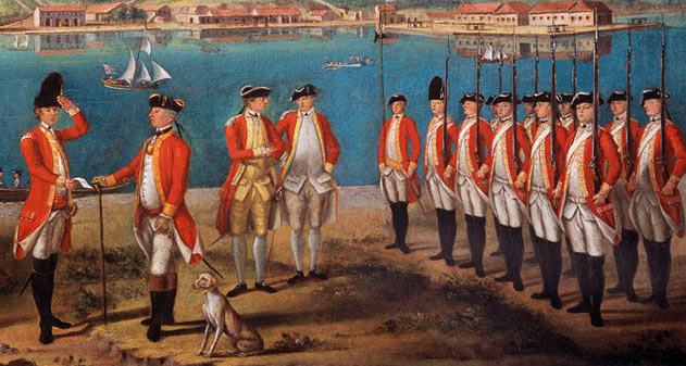 British troops of the 25th Regiment: the Great Siege of Gibraltar from 1779 to 1783 during the American Revolutionary War: picture attributed to Giuseppe Chiesa