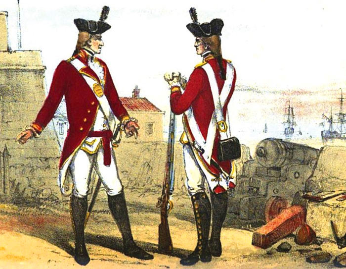 British troops standing in the King's Battery on the Gibraltar waterfront: Great Siege of Gibraltar from 1779 to 1783 during the American Revolutionary War