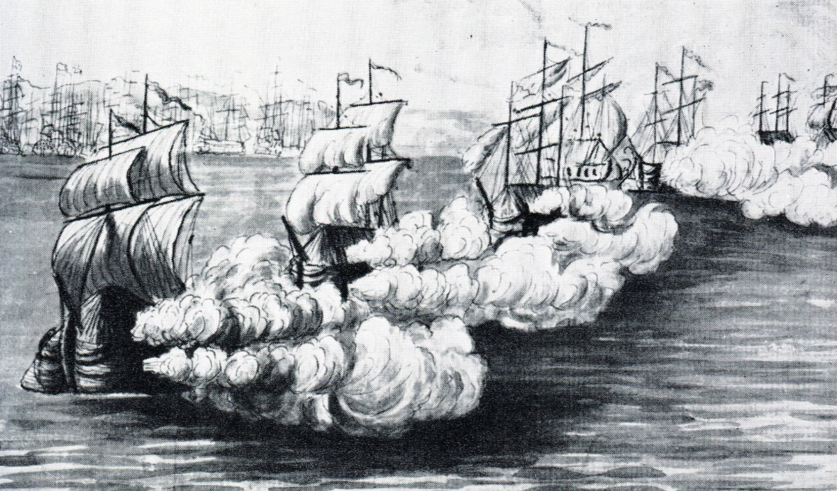 The Ten Spanish Battering Ships in action on 13th September 1782: the Great Siege of Gibraltar from 1779 to 1783 during the American Revolutionary War: eye witness sketch by Lieutenant G.F. Koehler