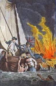 Captain Curtis rescuing Spanish crews from the sinking Battering Ships during the attack on Gibraltar, 13th September 1782: the Great Siege of Gibraltar from 1779 to 1783 during the American Revolutionary War