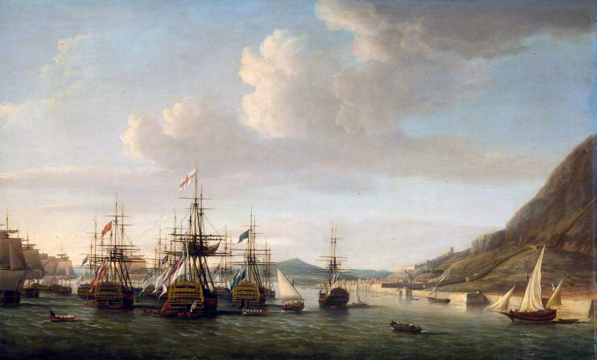 Admiral Rodney's ships in Gibraltar in January 1780: the Great Siege of Gibraltar from 1779 to 1783 during the American Revolutionary War: picture by Dominic Serres