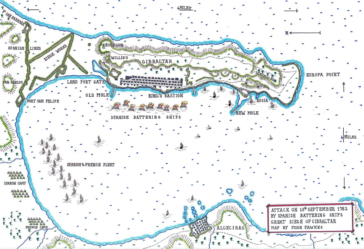 Map of the bombardment from the Spanish Battering Ships on 13th September 1782: the Great Siege of Gibraltar from 1779 to 1783 during the American Revolutionary War: map by John Fawkes