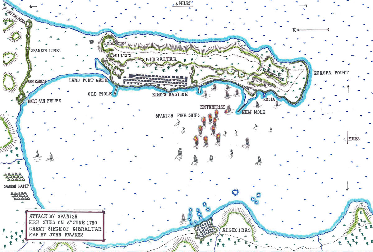 Map of the Spanish Fire Ship attack on the night of 6th/7th June 1780: the Great Siege of Gibraltar from 1779 to 1783 during the American Revolutionary War: map by John Fawkes