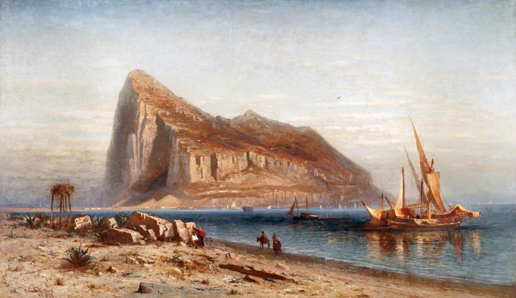 Gibraltar from the Spanish lines with a Spanish zebec on the right: the Great Siege of Gibraltar from 1779 to 1783 during the American Revolutionary War