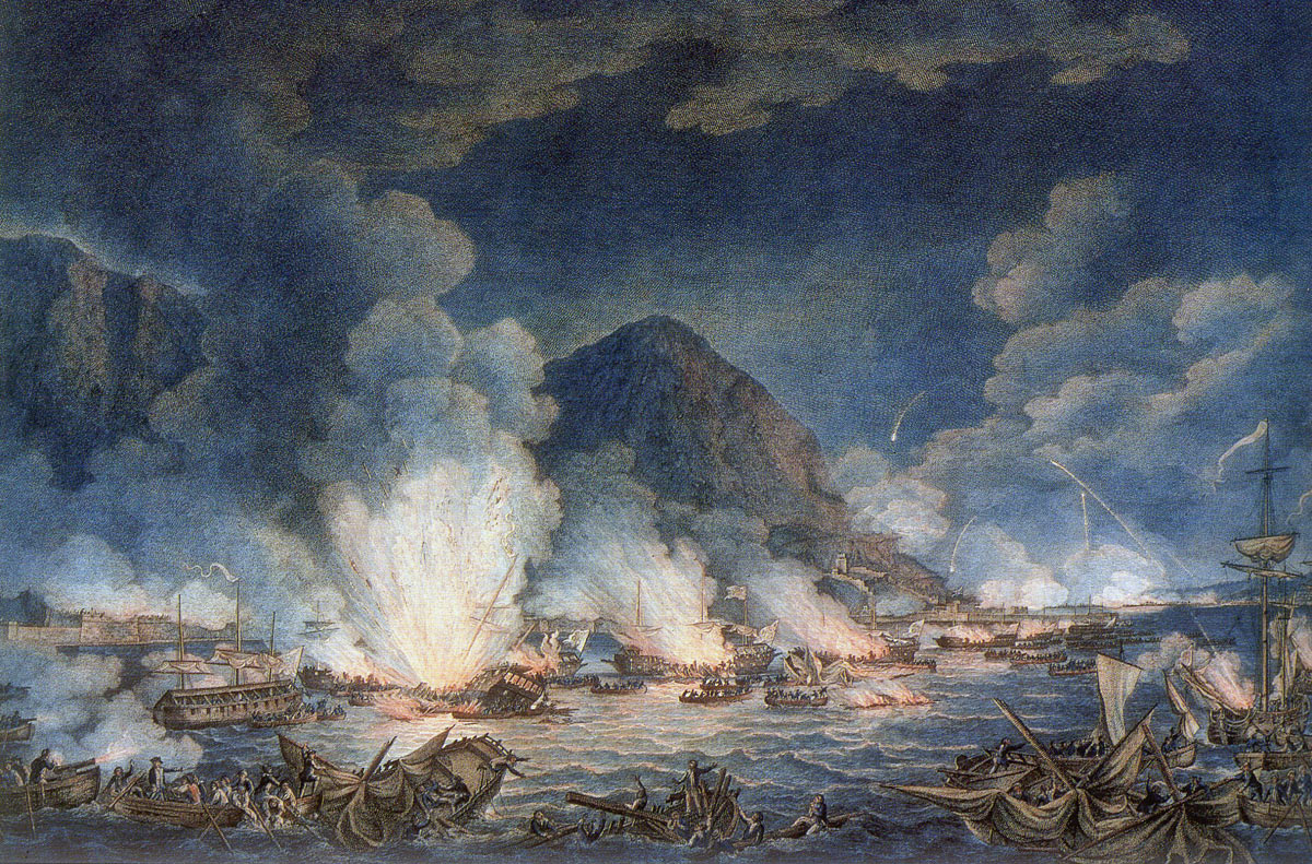 British sailors rescuing the Spanish crews from the exploding and sinking Battering Ships during the attack on Gibraltar, 13th September 1782: the Great Siege of Gibraltar from 1779 to 1783 during the American Revolutionary War