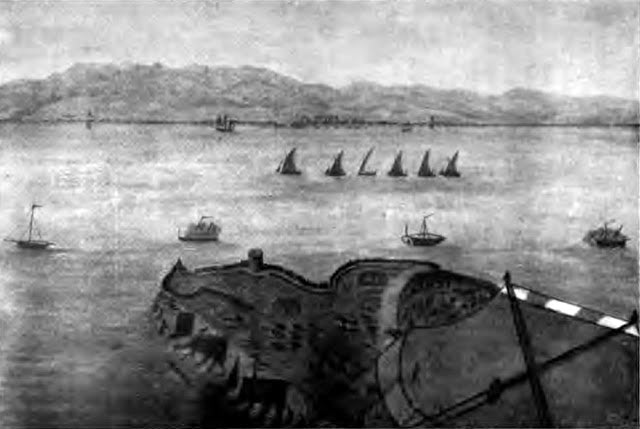 Spanish gunboats off Rosia: the Great Siege of Gibraltar from 1779 to 1783 during the American Revolutionary War: sketch by Captain Spilsbury