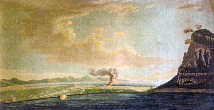 British guns shelling Spanish siege lines on the Isthmus: the Great Siege of Gibraltar from 1779 to 1783 during the American Revolutionary War