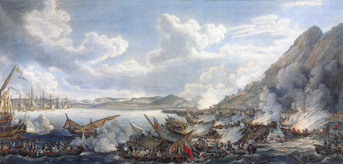 The bombardment from the Spanish Battering Ships on 13th September 1782: the Great Siege of Gibraltar from 1779 to 1783 during the American Revolutionary War