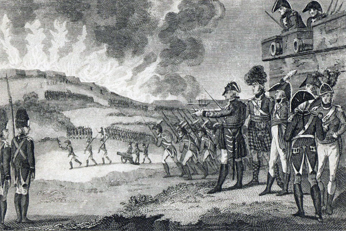 The British Sortie on 26th November 1781: the Great Siege of Gibraltar from 1779 to 1783 during the American Revolutionary War: a comtemporary illustration