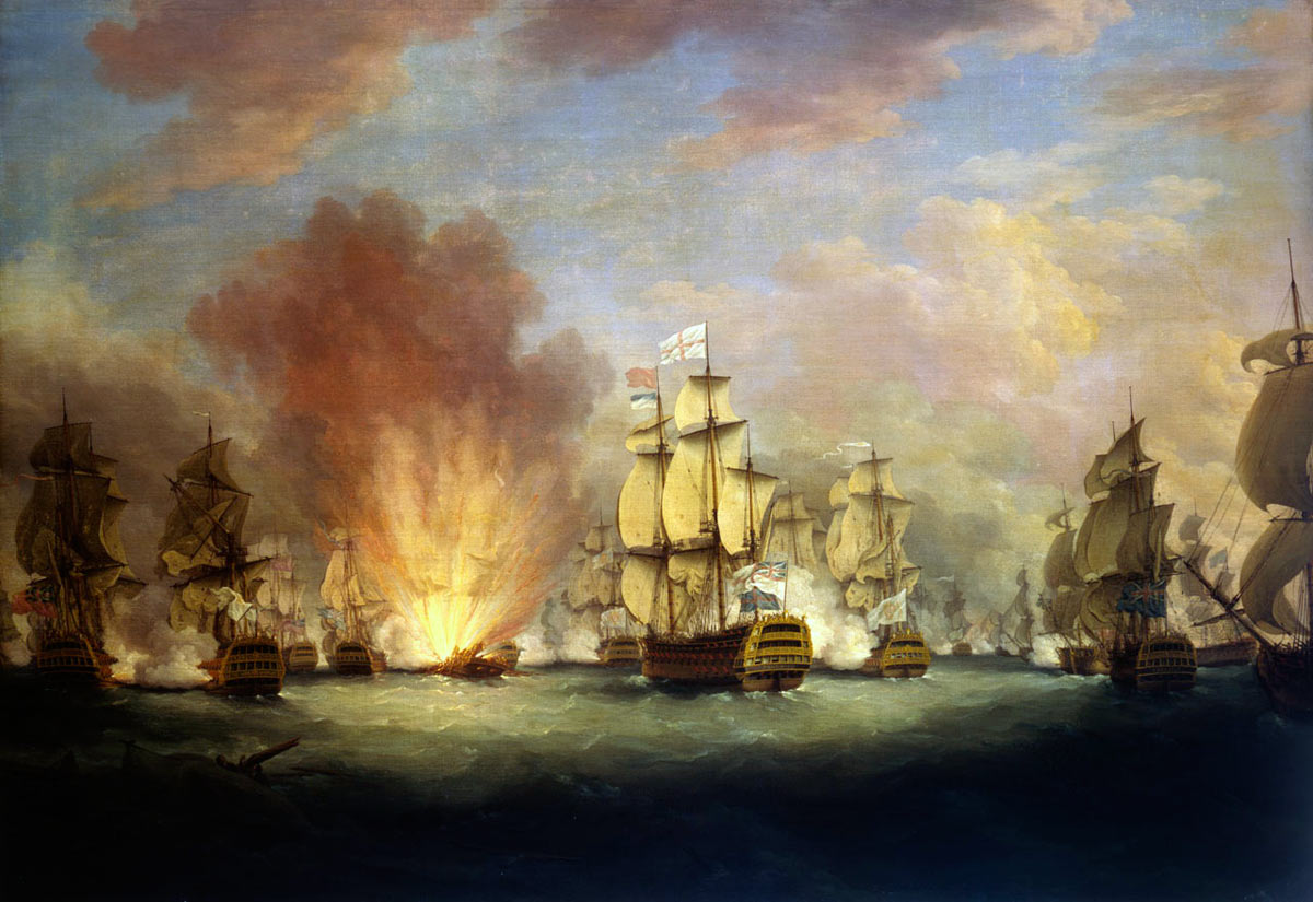 Rodney's 'Moonlight Battle' on 16th January 1780: the Great Siege of Gibraltar from 1779 to 1783 during the American Revolutionary War: the Spanish ship San Domingo explodes in the background early in the battle