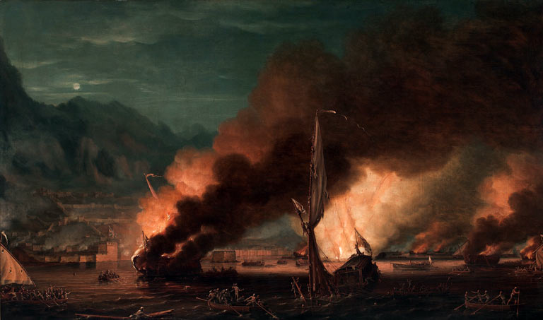 The destruction of the Battering Ships during the attack on Gibraltar, 13th September 1782: the Great Siege of Gibraltar from 1779 to 1783 during the American Revolutionary War: picture by Thomas Whitcombe