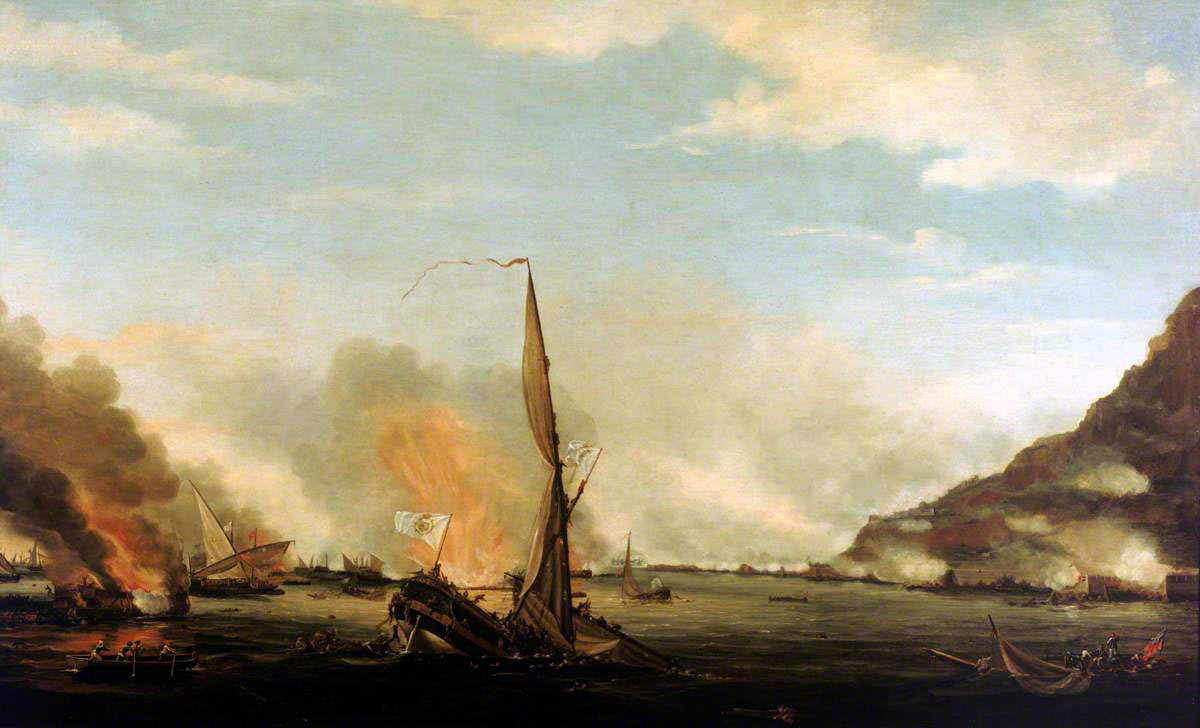 The attack of the Spanish Battering Ships on 13th September 1782: the Great Siege of Gibraltar from 1779 to 1783 during the American Revolutionary War: picture by Thomas Whitcombe