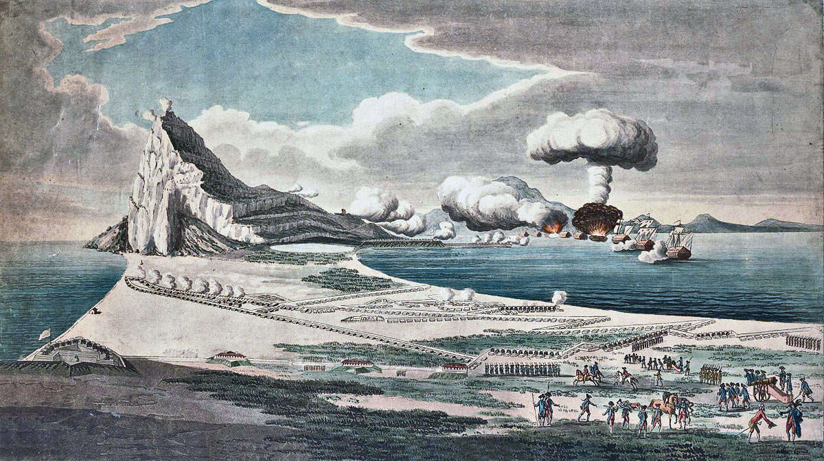 View of the attack by the Spanish Battering Ships on 13th September 1782: the Great Siege of Gibraltar from 1779 to 1783 during the American Revolutionary War: the Spanish ship Pastora explodes in the distance