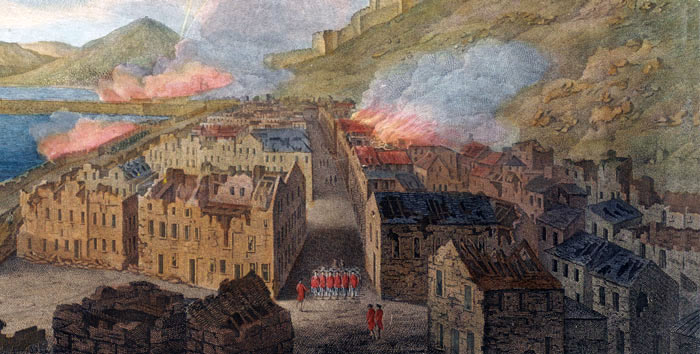 Gibraltar town damaged by Spanish cannon fire: the Great Siege of Gibraltar from 1779 to 1783 during the American Revolutionary War