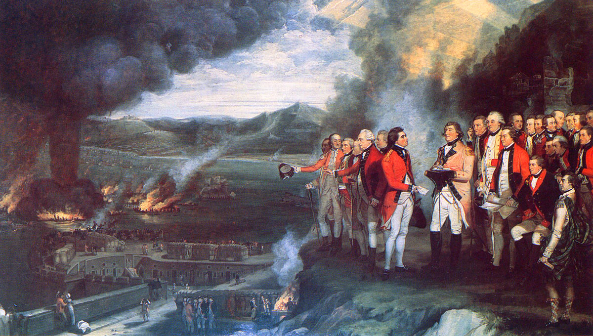 General Eliott and his senior officers watching the destruction of the Spanish Battering Ships on 13th September 1782, during the Great Siege of Gibraltar from 1779 to 1783 during the American Revolutionary War: picture by George Carter