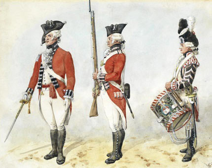 British troops: the Great Siege of Gibraltar from 1779 to 1783 during the American Revolutionary War: picture by Richard Simkin