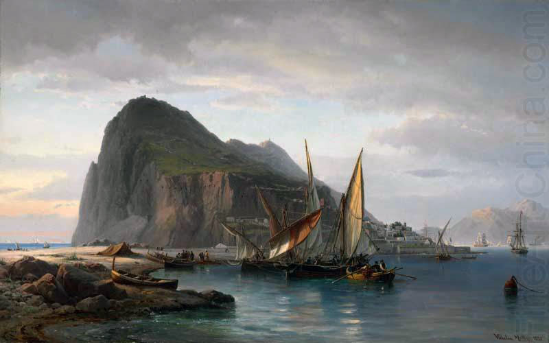 Gibraltar: the Great Siege of Gibraltar from 1779 to 1783 during the American Revolutionary War: picture by Vilhelm Melbye