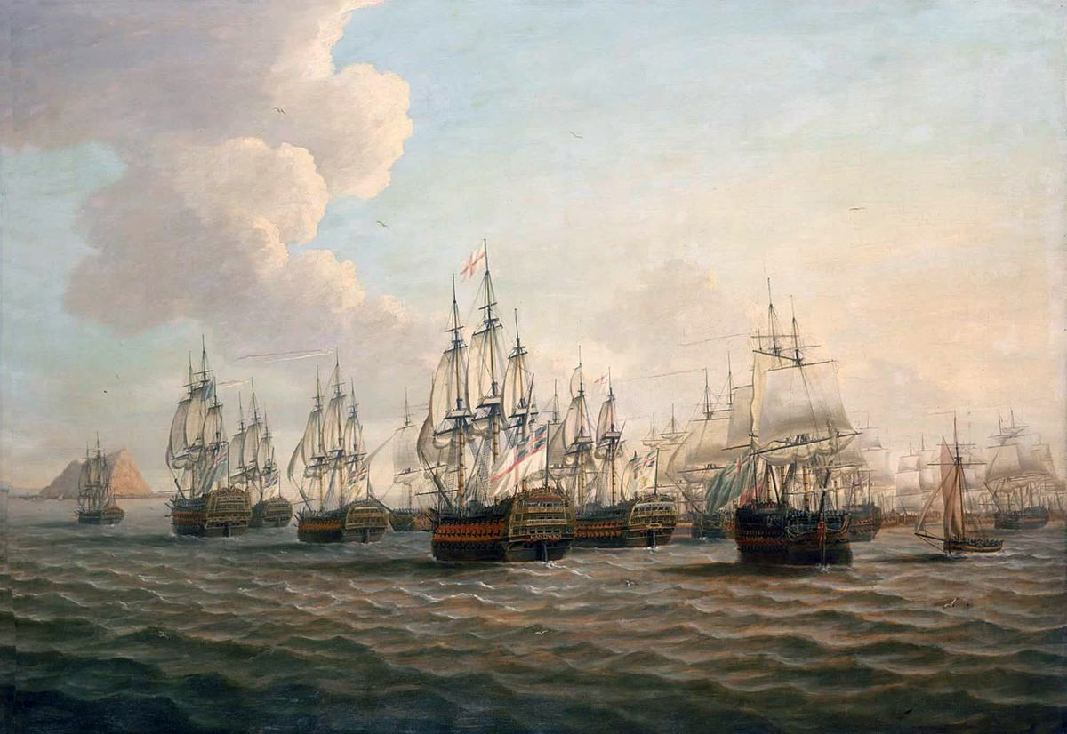 Rodney's fleet approaching Gibraltar after 'The Moonlight Battle' at Cape St Vincent on 16th January 1780 in the American Revolutionary War: picture by Dominic Serres