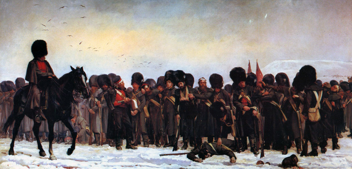 Roll call of the Grenadier Guards after the Battle of Inkerman on 5th November 1854 in the Crimean War: the mounted officer is Captain Higginson: picture by Lady Butler