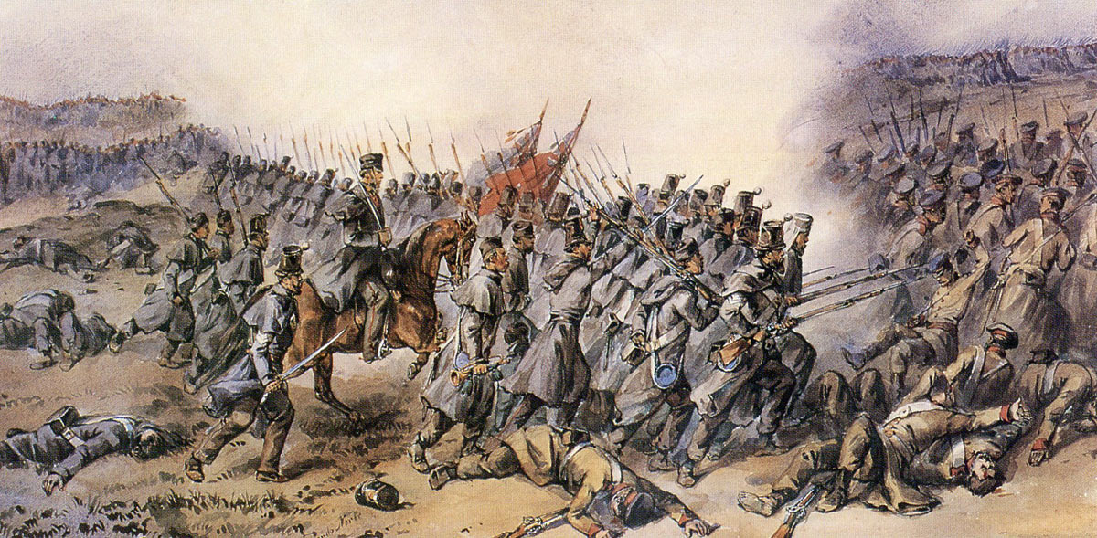 21st Royal Scots Fusiliers attacking at the Battle of Inkerman on 5th November 1854 in the Crimean War
