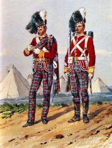 72nd Highlanders the Duke of Albany's Own in Home Service Dress: Battle of Peiwar Kotal on 2nd December 1878 in the Second Afghan War: picture by Orlando Norie