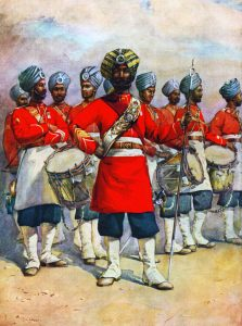 Drums of the 45th Rattray's Sikhs: Battle of Ali Masjid on 21st November 1878 in the Second Afghan War: picture by A.C. Lovett