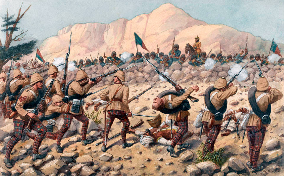 72nd Highlanders at the Battle of Peiwar Kotal on 2nd December 1878 in the Second Afghan War: picture by Richard Simkin