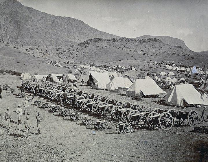 24 captured Afghan guns after the Battle of Ali Masjid on 21st November 1878 in the Second Afghan War