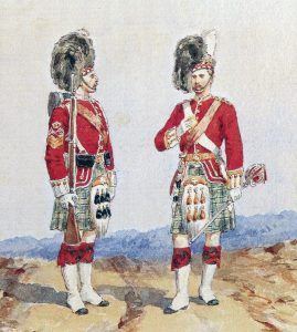 92nd Highlanders in Home Service Dress: Battle of Peiwar Kotal on 2nd December 1878 in the Second Afghan War: picture by Orlando Norie