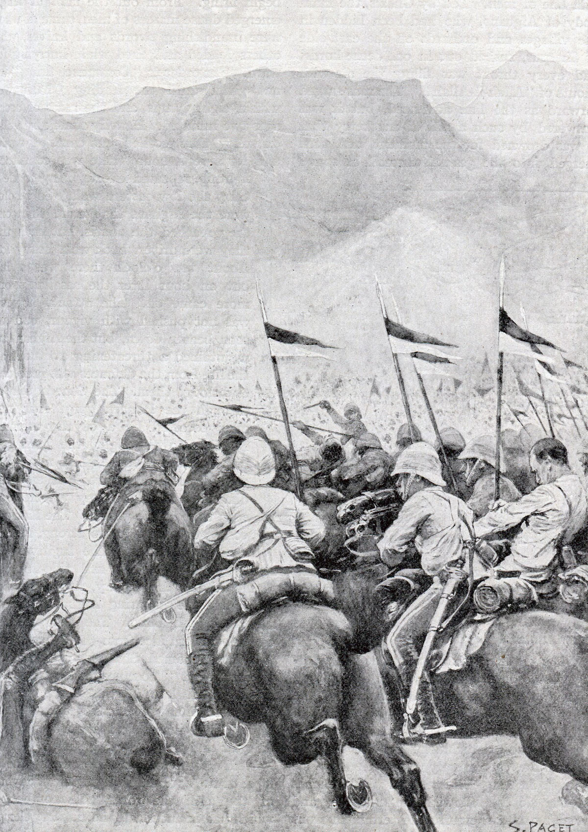 9th Lancers attacking at the Battle of Kabul December 1879 in the Second Afghan War: picture by S. Paget