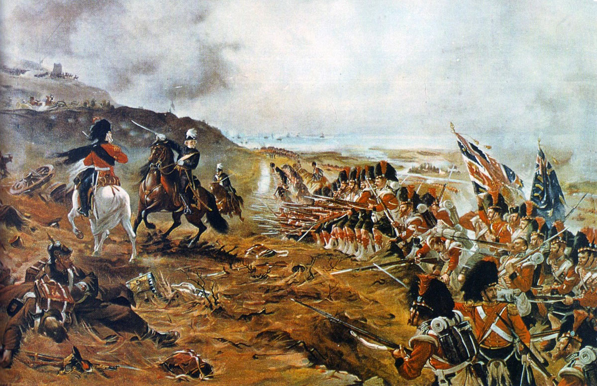 42nd Highlanders, the Black Watch, advancing behind Sir Colin Campbell at the Battle of the Alma on 20th September 1854 during the Crimean War