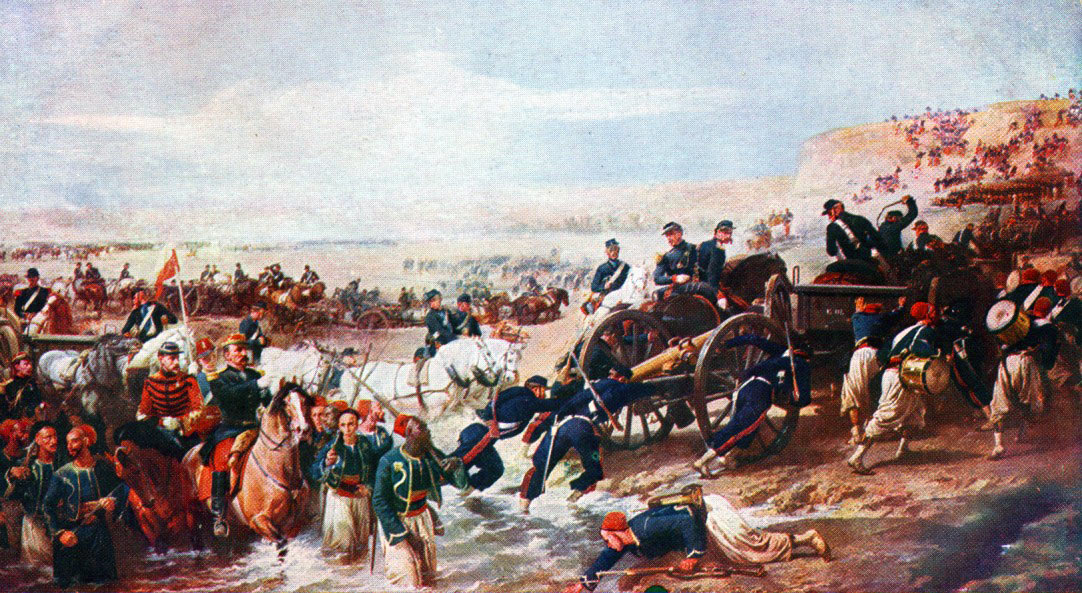 French troops crossing the river at the Battle of the Alma on 20th September 1854 during the Crimean War
