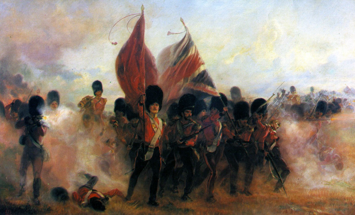 The Colours of the Scots Fusilier Guards at the Battle of the Alma on 20th September 1854 during the Crimean War: picture by Lady Butler