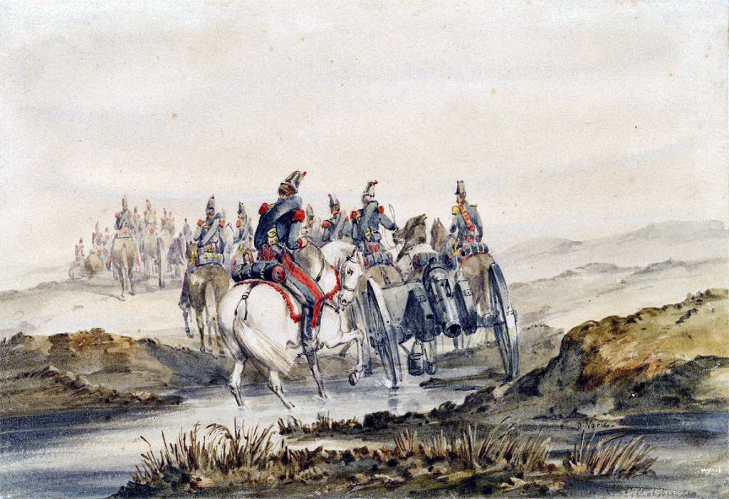 French Artillery at the Battle of the Alma on 20th September 1854 during the Crimean War: picture by Orlando Norie