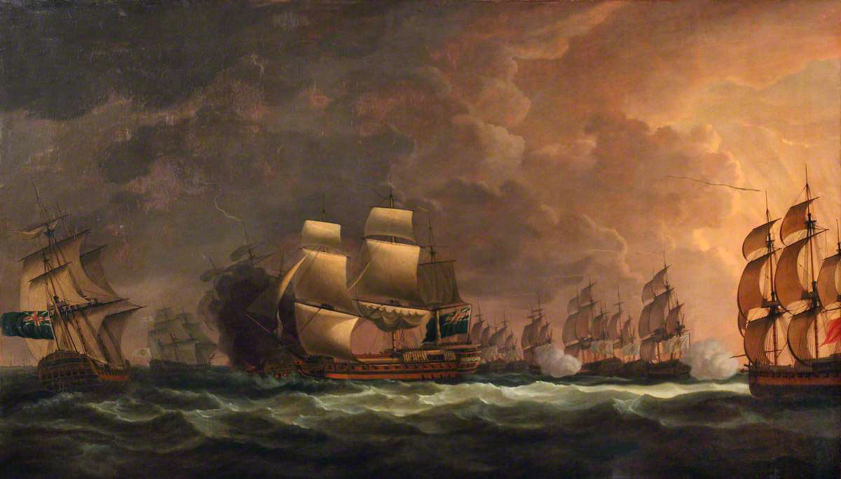 'The Moonlight Battle' at Cape St Vincent on 16th January 1780 in the American Revolutionary War: picture by Dominic Serres