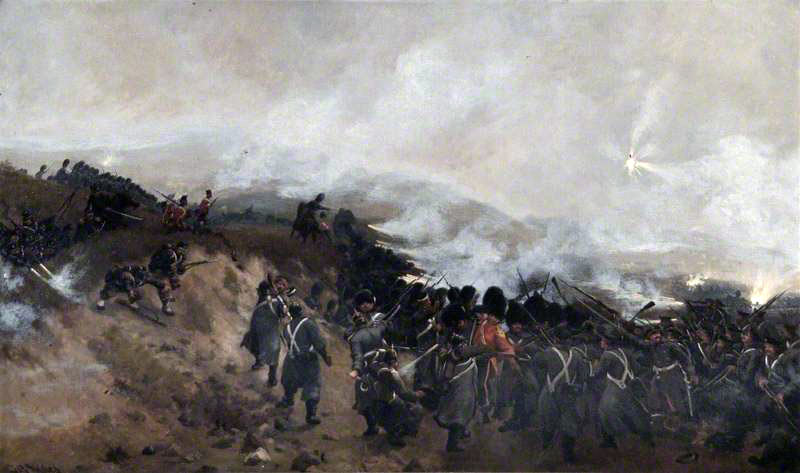 Guards at the Battle of Inkerman on 5th November 1854 in the Crimean War: picture by Thomas Rose Miles