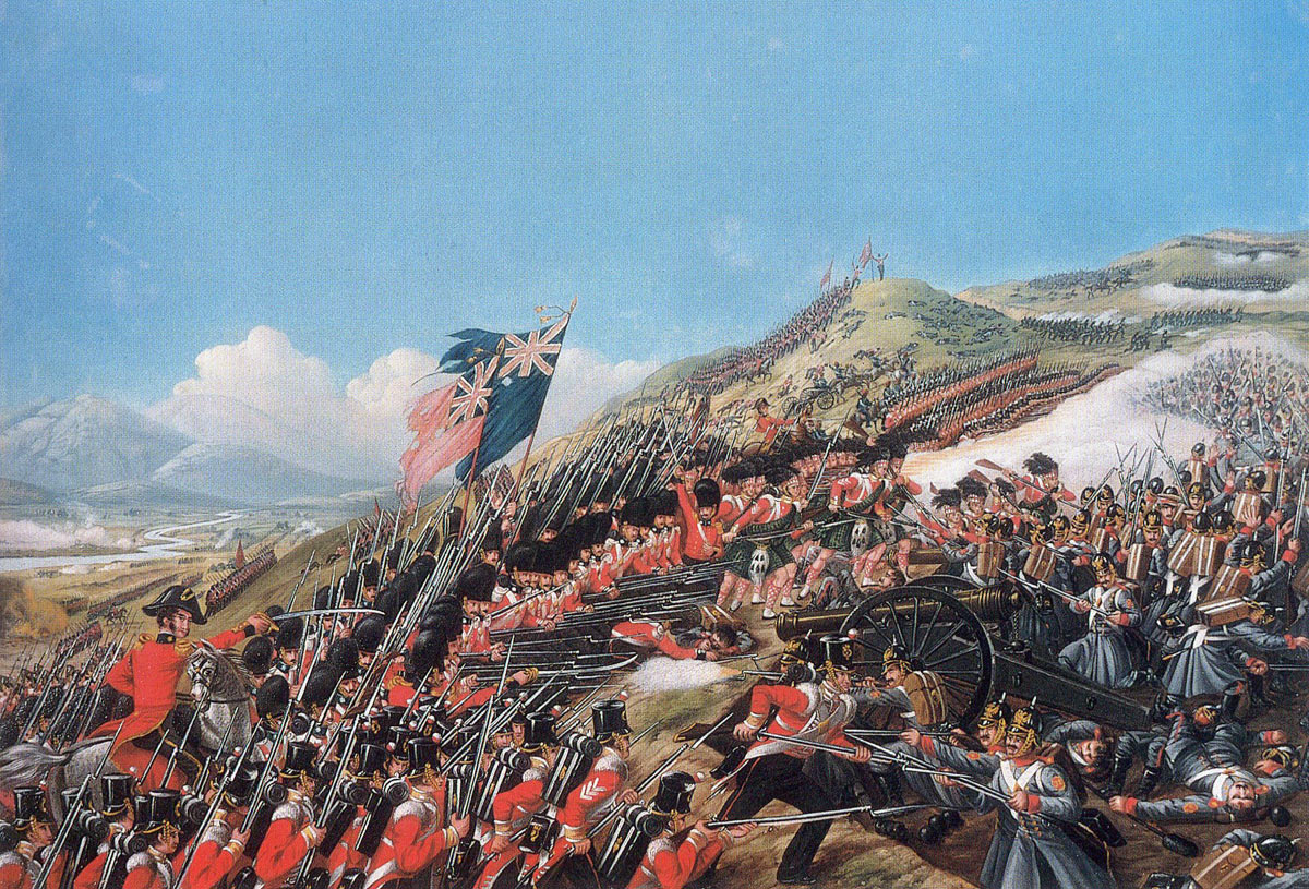 The attack by the British infantry at the Battle of the Alma on 20th September 1854 during the Crimean War