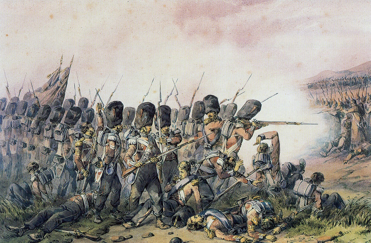 Coldstream Guards at the Battle of the Alma on 20th September 1854 during the Crimean War: picture by Orlando Norie