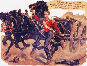 Captain Bell and Private Syle winning VCs at the Battle of the Alma on 20th September 1854 during the Crimean War