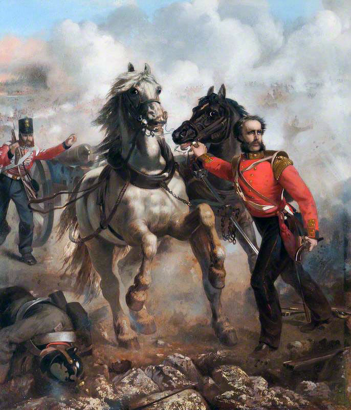 Captain Bell of the Royal Welch Fusiliers winning the Victoria Cross at the Battle of the Alma: picture by Louis Desanges