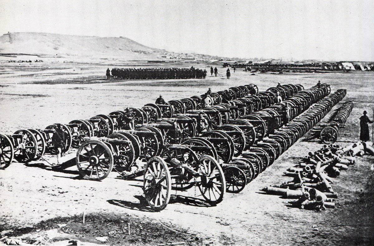 Captured Afghan guns in the Sherpur Cantonment: Battle of Kabul December 1879 in the Second Afghan War
