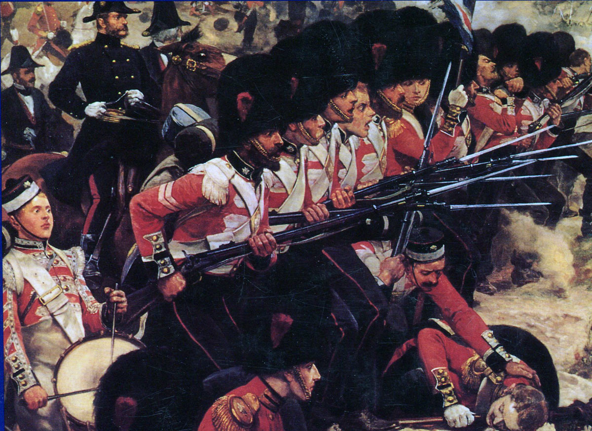 The Coldstream Guards at the Battle of the Alma on 20th September 1854 during the Crimean War: picture by Richard Caton Woodville