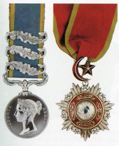 British Crimean War Medal 1854 to 1856 with clasps for Alma, Balaclava and Sevastopol and a Turkish Decoration: the Battle of the Alma on 20th September 1854 during the Crimean War