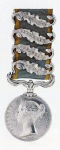 Crimean War Medal 1854 to 1856 with clasps for the Alma, Balaclava, Inkerman and Sevastopol: Battle of Inkerman on 5th November 1854 in the Crimean War