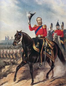 Duke of Cambridge with the Grenadier Guards in the background: Battle of the Alma on 20th September 1854 during the Crimean War: print by Ackermann