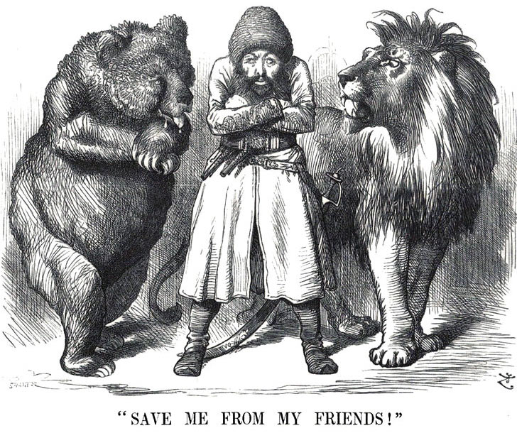 A cartoon showing Sher Ali, the Amir of Afghanistan, between the Russian Bear and the British Lion: Battle of Ali Masjid on 21st November 1878 in the Second Afghan War