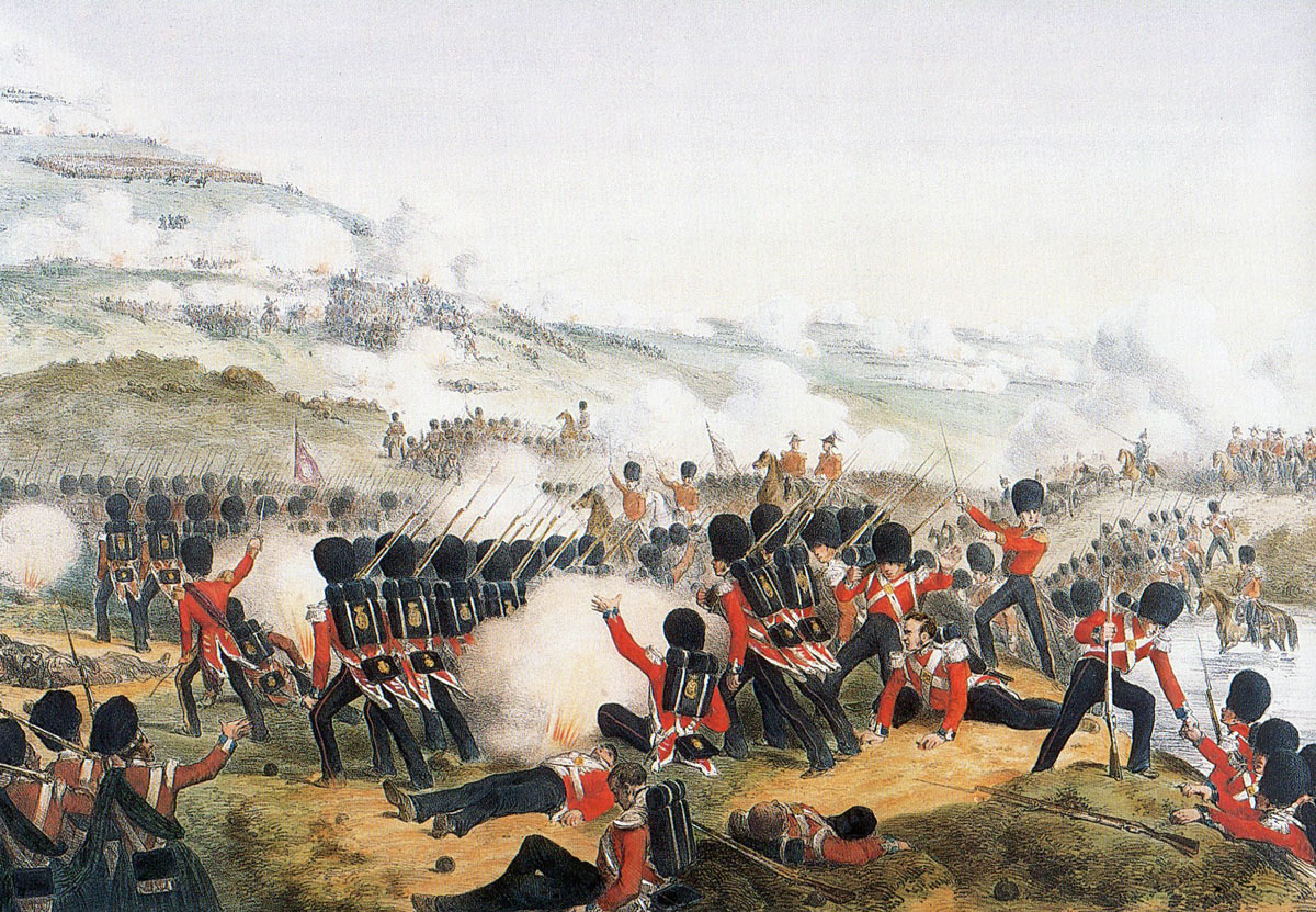 The Grenadier Guards attack up the hill after crossing the river at the Battle of the Alma on 20th September 1854 during the Crimean War