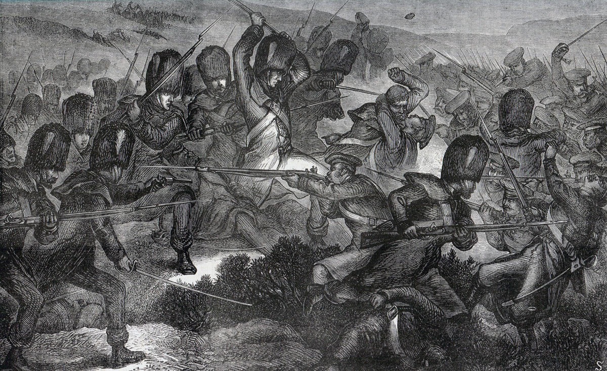 The Grenadier Guards attacking at the Battle of Inkerman on 5th November 1854 in the Crimean War